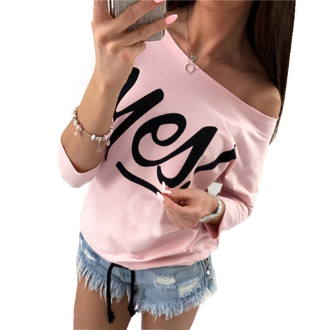 Off Shoulder Women Sweatshirts Sexy Letter Print Hoodies Long Sleeve Camisas Femininas Top Raw Edge Feminina WS2198R