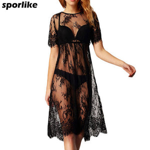 Swimsuit Cover Up Women Sexy Beach Chiffon Long Dress Solid Beach Cover
