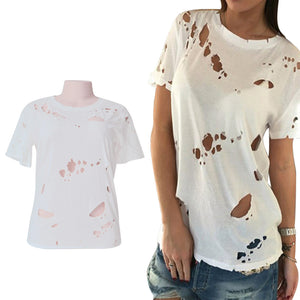 Women's Ripped Cut Out Hole Short Sleeve Casual Tops Summer T shirt