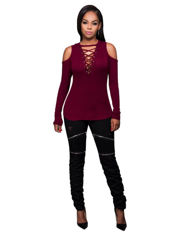 Women's Sexy Cool Shoulder Blouse Lace-Up Ribbed Tops