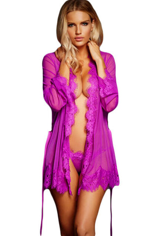 Women Lace Trim Robe and Thong Set