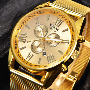 Men's Multifunction Day Date Analog Quartz Stainless Steel Mesh Wrist Watch