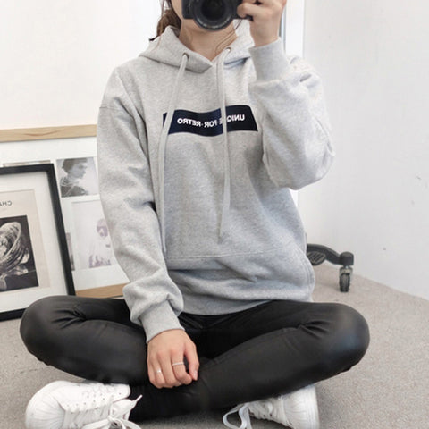 Women's Long Sleeve Hoodie Sweatshirt Jumper Letter Pullover Blouse