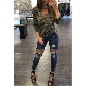 Women Long Sleeve Shirt Slim Casual Blouse Camouflage Print Tops