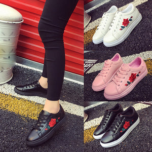 Fashion Women's Straps Sports Running Sneakers Embroidery Flower Shoes