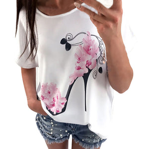 Women Short Sleeve High Heels Printed Casual Loose Blouse