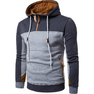 Fashion Color Stitching Hooded Sweatshirt Pullover 3XL