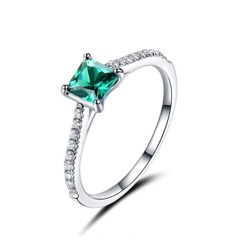 925 Sterling Silver Green Nano Emerald Ring For Women