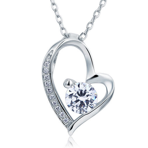 1 Carat Simulated Diamond Heart 925 Sterling Silver Pendant Necklace