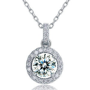 1 Carat Round Cut Simulated Diamond Bridal 925 Sterling Silver Pendant Necklace