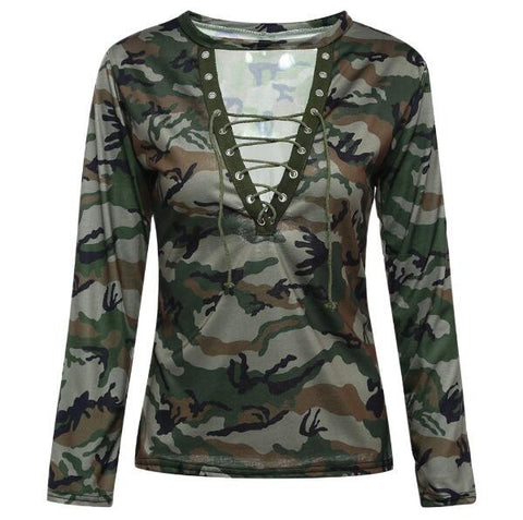 Green Gray Camouflage V-neck Long sleeve T-shirt