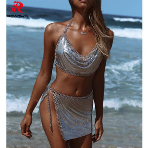 Metal Crystal Summer Sexy Diamonds Bralette Cut Rhinestone Glitter Club Two Pieces Party Dress