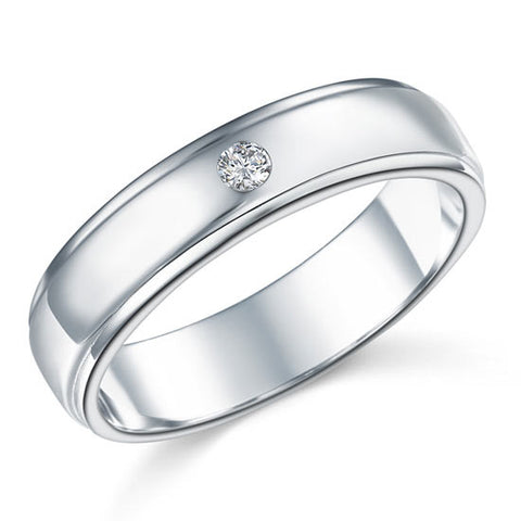 Men's Wedding Band Sterling 925 Silver Simulated Diamond Ring