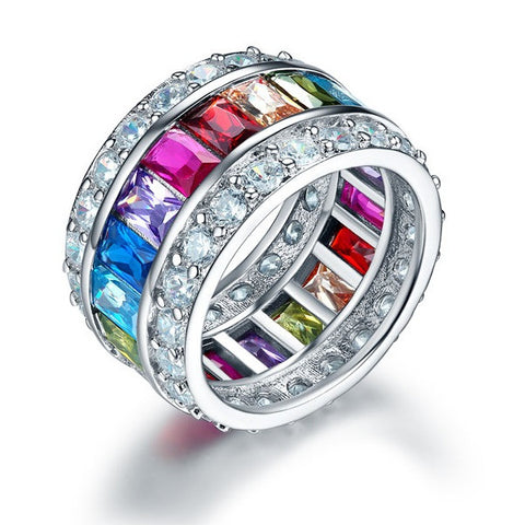Multi-Color Simulated Diamond Topaz Band Wedding Anniversary 925 Sterling Silver Ring