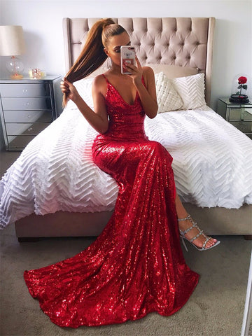 Sequin Backless High Split Maxi Long Glitter Dress