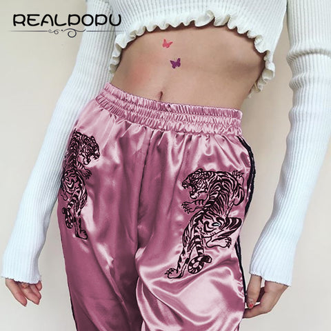 Long Pants Embroidery Tiger Stain Hig Waist Casual Streewear