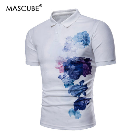 olo Shirt Fashion Casual Ink Painting Slim Fit Cotton Shirts 3XL