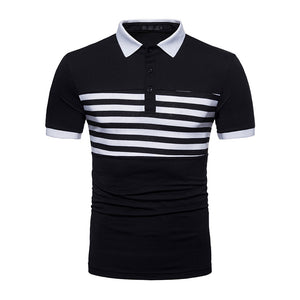Business Casual Breathable Striped Short Sleeve Polo Shirt Cotton