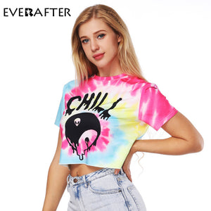 Crop Top T shirt Floral Printed Causal O neck loose short sleeves