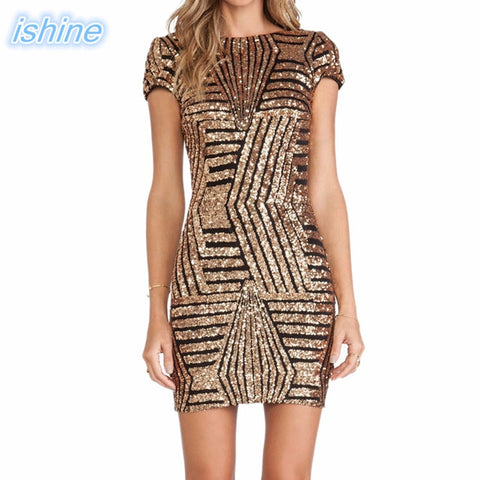 V-neck Backless Gold Silver Sequin Short-Sleeve Body-con Pencil Dress