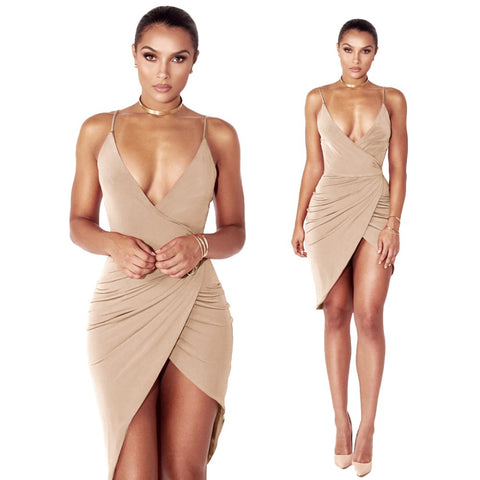 Patry Night Club Dress Spaghetti Strap Deep V-Neck Mini Dress