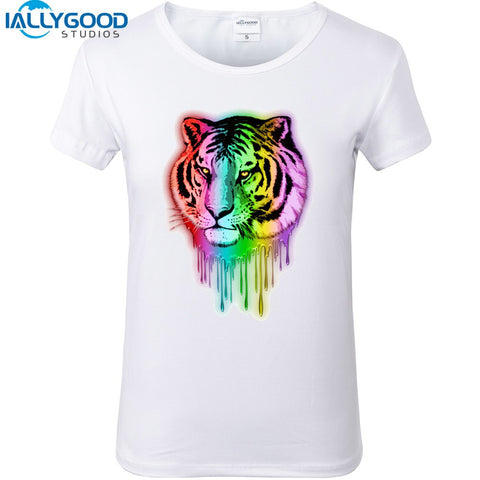 Neon Print 3D tiger head T-shirts Short Sleeve High Quality Soft Cotton Casual