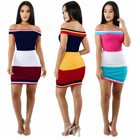 European Stylish Patchwork Women Short Mini Dress Slash Neck