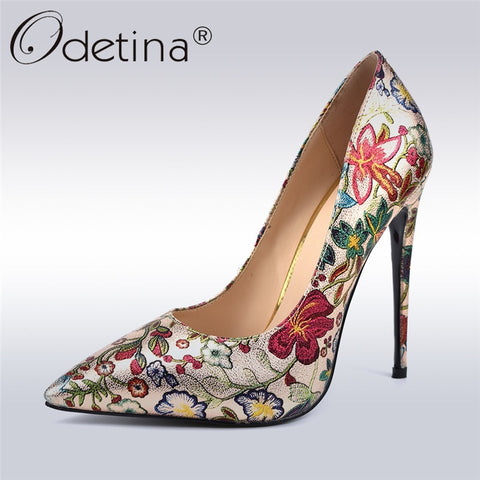 Floral Print Extreme High Heels 12cm Stiletto Pointed Toe