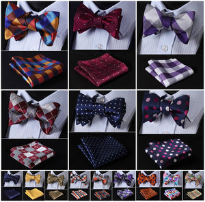 Check Polka Dot Silk Jacquard Woven Men Butterfly Self Bow Tie BowTie Pocket Square Handkerchief Hanky Suit Set G5