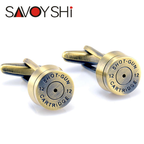 Bronze Bullet Cufflinks for Mens French Shirt Cuff bottons Wedding High Quality Round Cufflinks Fashion SAVOYSHI Brand Jewelry