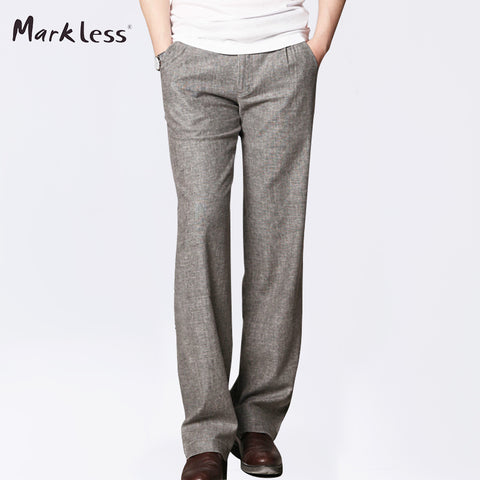Markless Summer Thin Linen Men Pants Male Commercial Loose Casual Business Trousers Men's Clothing Straight Fluid Man Pants