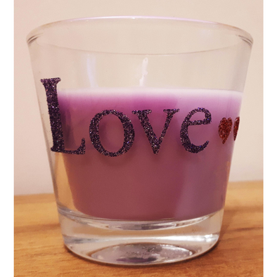 Candle in a jar decorated with Sticky Roll and Glitter