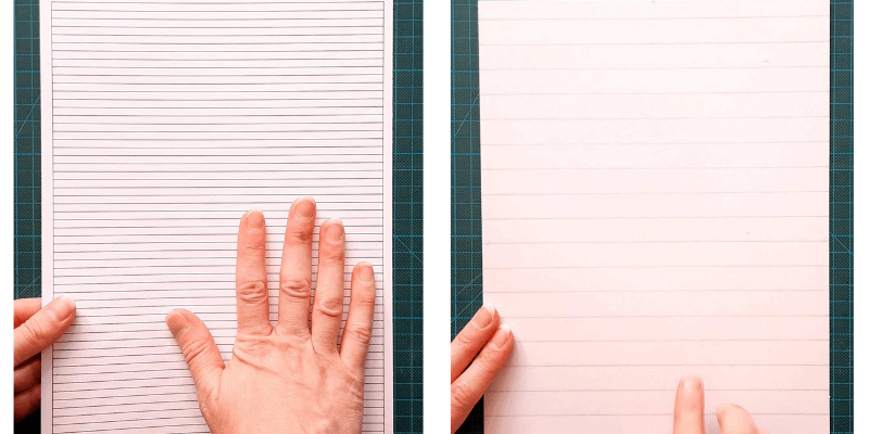 Use 300gsm card and print or draw lines the length of the card