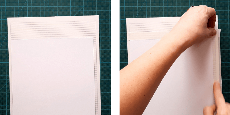 Mark the card outline with finger lift or double sided tape