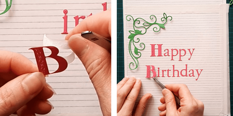 Remove the Sticky Roll liner and place your die-cut letters on the Sticky Roll Board