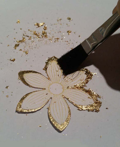 Brush off gilding flakes from Sticky Roll Flower