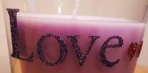 Glittered candle jar letters