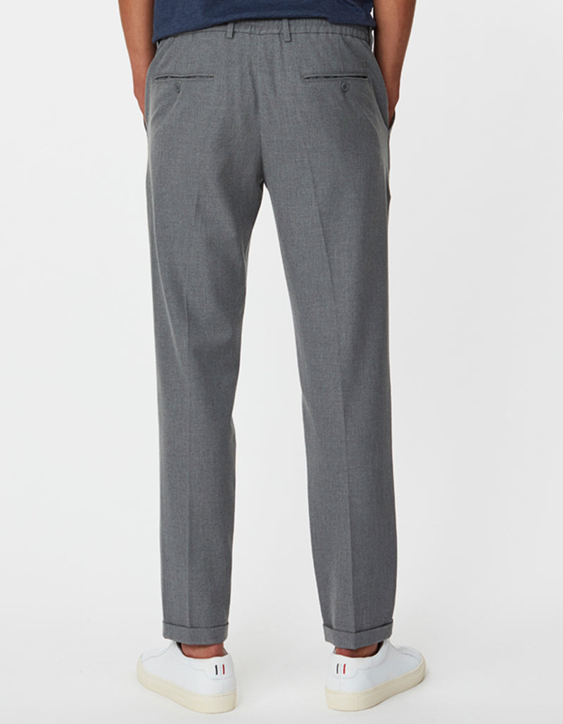 Les Deux MEN Pino Elastic Waist Pants Pants 310310-Light Grey Melange