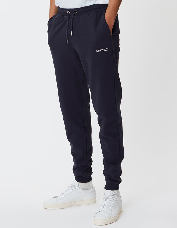 Les Deux MEN Lens Sweat pants Pants 460201-Dark Navy/White