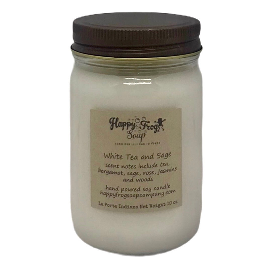 White Tea and Sage Soy Candle 10oz