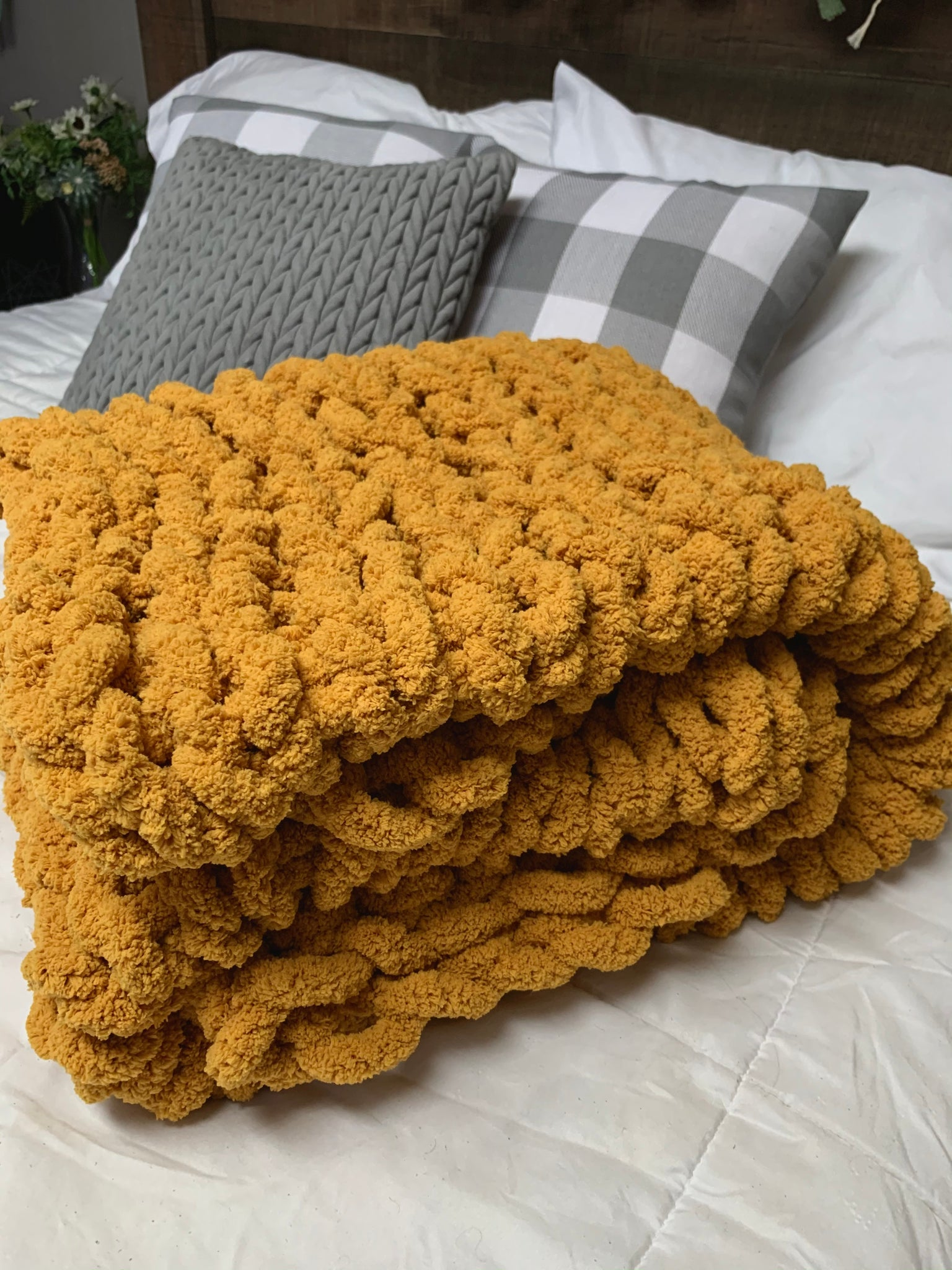 Handmade Chunky Knit Blanket in Mustard Yellow