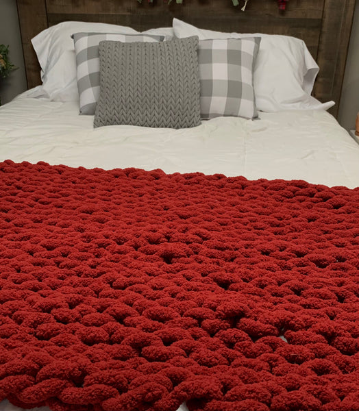Handmade Chunky Knit Blanket in Cranberry