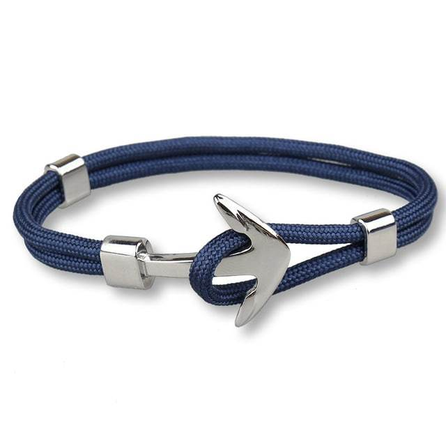 Bracelet ancre cordon simple - argenté - bleu marine bracelet Goodz.world