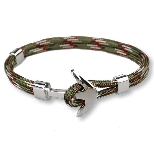 Bracelet ancre cordon simple - argenté - militaire bracelet Goodz.world