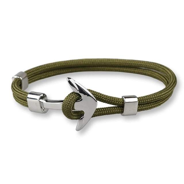 Bracelet ancre cordon simple - argenté - vert olive bracelet Goodz.world
