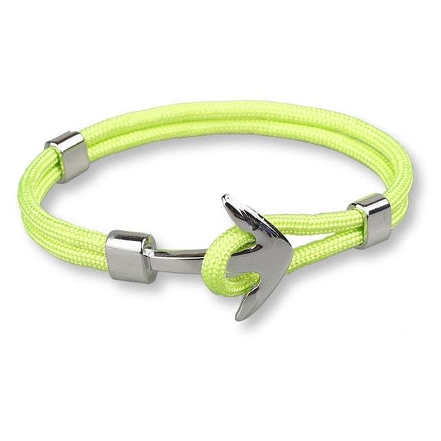 Bracelet ancre cordon simple - argenté - vert pomme bracelet Goodz.world