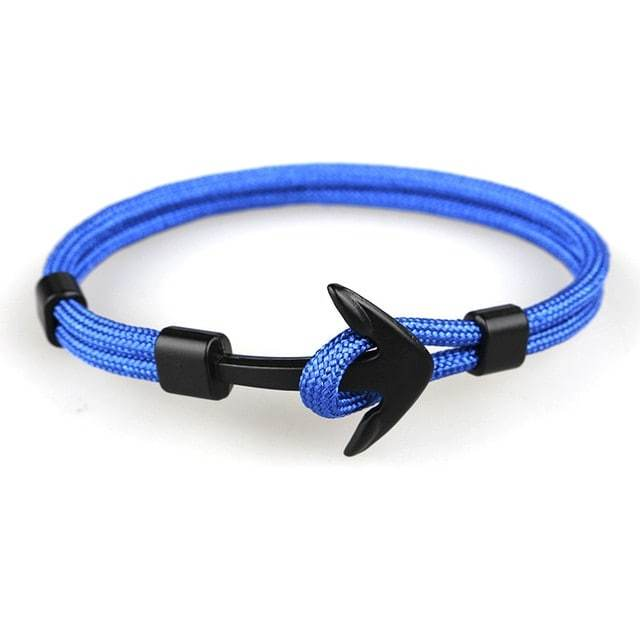 Bracelet ancre cordon simple - noir - bleu bracelet Goodz.world