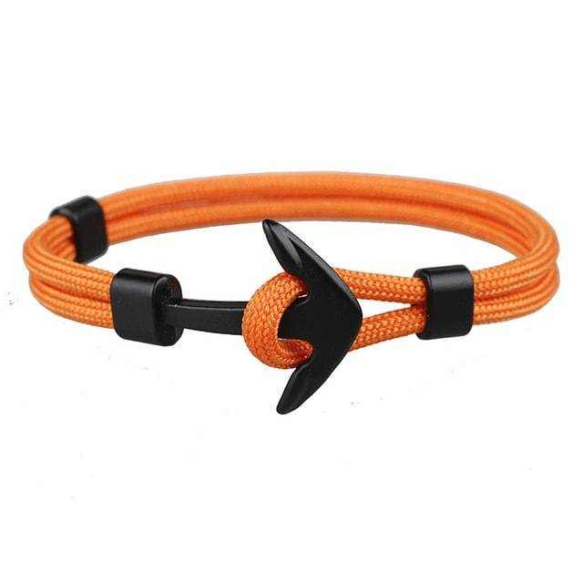 Bracelet ancre cordon simple - noir - orange bracelet Goodz.world
