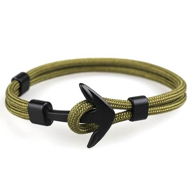 Bracelet ancre cordon simple - noir - vert olive bracelet Goodz.world