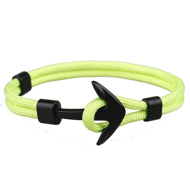 Bracelet ancre cordon simple - noir - vert pomme bracelet Goodz.world